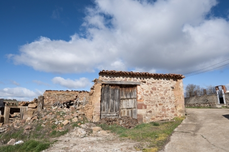 Old stone houses in San Millan de Lara, Burgos Province, Spain  photo