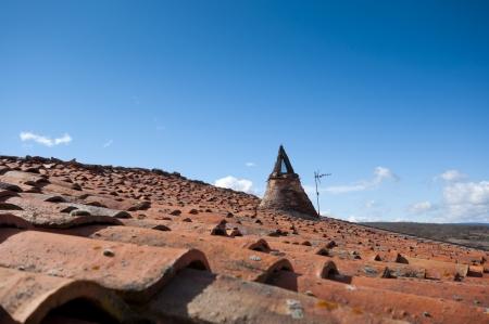 millan: Traditional tiled roof in San Millan de Lara, Burgos Province, Spain  Stock Photo