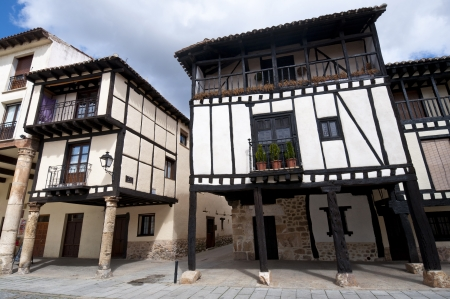 rafter: Traditional houses in Covarrubias, Burgos Province, Spain