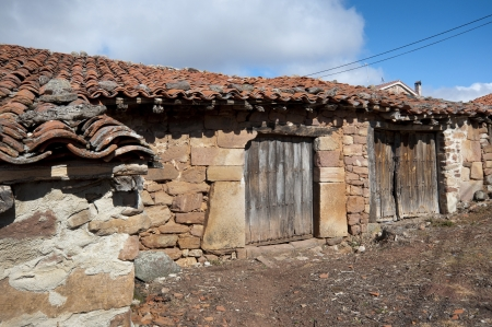 Old stone houses in San Millan de Lara, Burgos Province, Spain