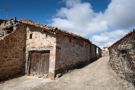 millan: Old stone houses in San Millan de Lara, Burgos Province, Spain