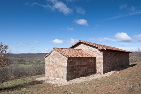 millan: Restored chapel in San Millan de Lara, Burgos Province, Spain Stock Photo
