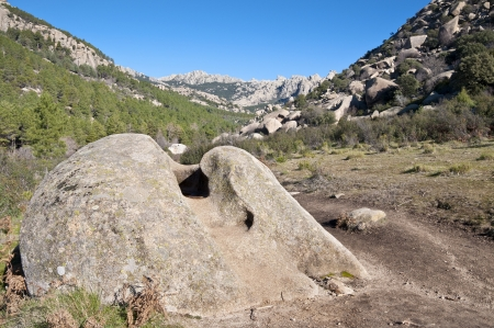 Views of La Pedriza, Madrid, Spain  It is a granite mountain where geological forces have create a remarkable boulder field of strangely eroded granite outcrops   Stock Photo
