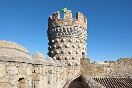 restoring: Tower of the New Castle of Manzanares el Real, Madrid Province, Spain  Also known as Castle of los Mendoza, is a palace-fortress erected in the 15th century