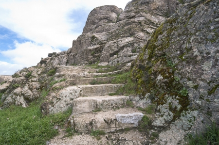 sculpted: Stone stairs sculpted in granite rocks
