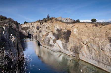 aquifer: Small granite quarry where groundwater level is emerged  Photo taken in Colmenar Viejo, Madrid Province, Spain Stock Photo