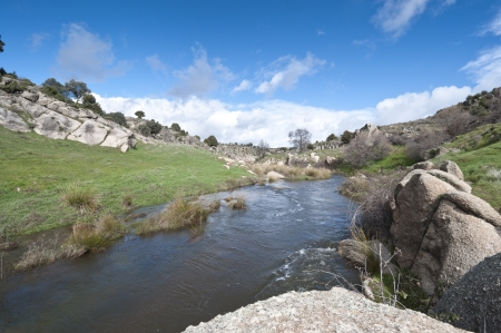 riverside landscape: General view of the river Manzanares, where it passes Colmenar Viejo, Madrid Province, Spain  This river has had a great historical importance due to its close relation to the city of Madrid