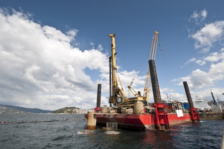 Working floating platform at Ria de Pontevedra, Galicia, Spain  photo