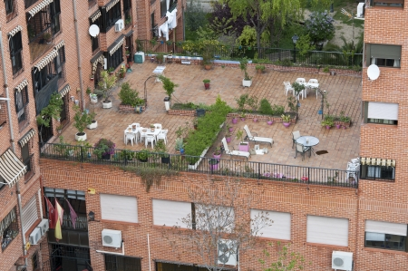 roofed house: Communal terrace between buildings in Carabanchel suburb, Madrid, spain Editorial