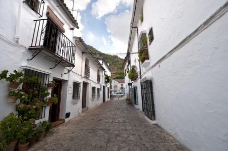 Traditional white houses in Grazalema town, Spain. This village is part of the pueblos blancos -white towns- in southern Spain Andalusia region  photo