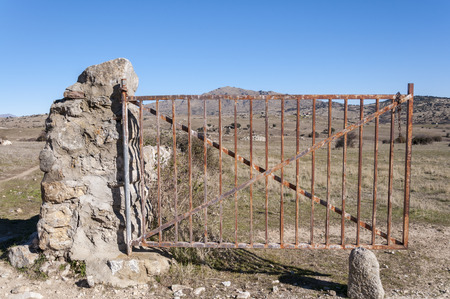 viejo: Open field gate at the entrance to the Dehesa de Navalvillar, Colmenar Viejo, Madrid, Spain