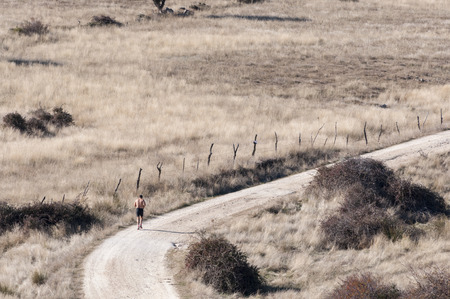 Running in a country road photo
