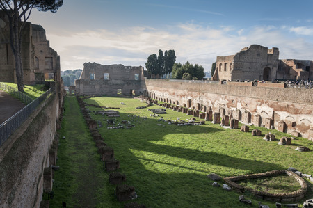 palatine: View of the Hippodrome of Domitian on the Palatine Hill, Rome, Italy  Stock Photo