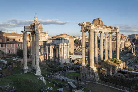 severus: Views of Roman Forum, Rome, Italy, with the Temple of Saturn, the Arch of Septimius Severus, and the Temple of Vespasian and Titus