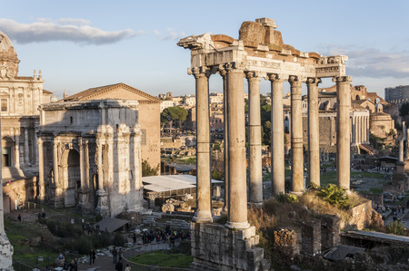 severus: Views of Roman Forum, Rome, Italy, with the Temple of Saturn and the Arch of Septimius Severus   Stock Photo