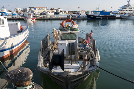 Fishing port of Santa Pola on May 2, 2013 in Santa Pola, Alicante, Spain.  It is a coastal town located in the comarca of Baix Vinalopo, in the Valencian Community, Alicante, Spain, by the Mediterranean Sea