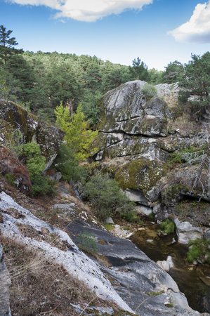 recreational area: Views of the river Eresma on its course through Boca del Asno, Segovia Province, Spain, a recreational area in Guadarrama Mountains