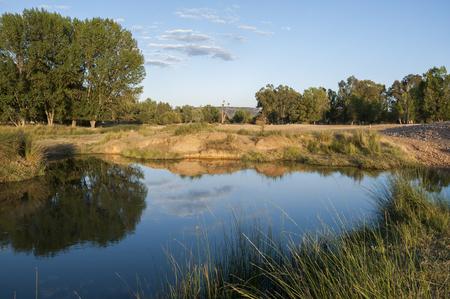 The Bullaque River at its pass through Porzuna, La Mancha, Ciudad Real, Spain Stock Photo