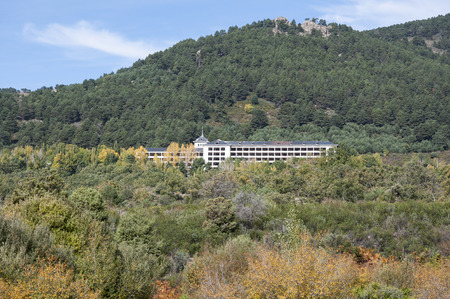 presently: Santo Angel de La Guarda Hospital. Presently abandoned, it was a tuberculosis hospital, and later, a Psychiatric Hospital. It is located in La Barranca Valley, Navacerrada, Spain