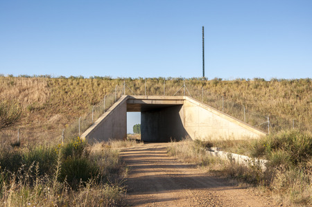 passageways: Underpass in a High-Speed Railway in Leon Province, Spain. These non-specific structures can be used as passageways by wildlife
