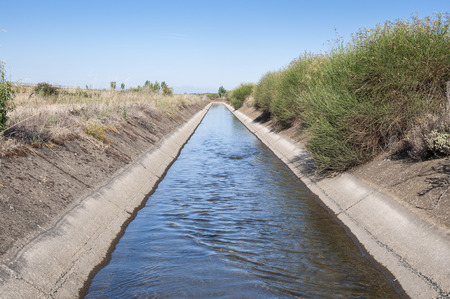 ditch: Irrigation ditch in the plain of the River Esla, in Leon Province, Spain. Stock Photo
