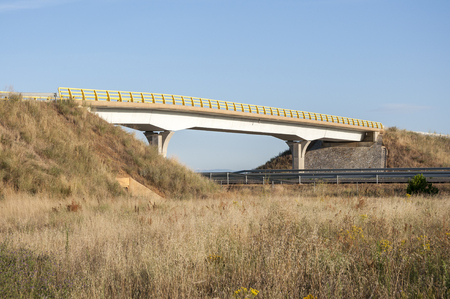 passageways: Overpass in a highway in Leon Province, Spain. These non-specific structures can be used as passageways by wildlife Stock Photo