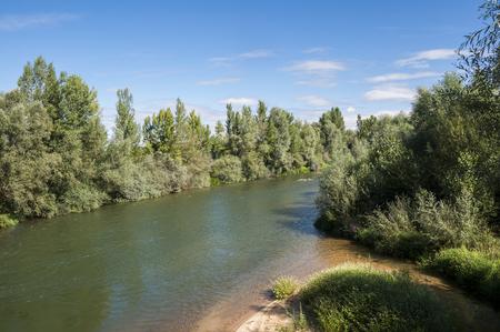 Views of the River Esla on its way through Villanueva de las Manzanas Municipality, in Leon Province, Spain