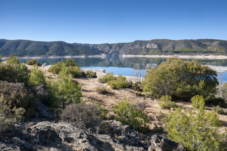 Views of Buendia Reservoir, in the upper waters of the river Tagus, Cuenca, Castilla La Mancha, Spain. Stock Photo