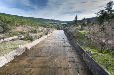 Spillway of the El Vado Reservoir, located in the upper course of the River Jarama, in Guadalajara Province, Spain