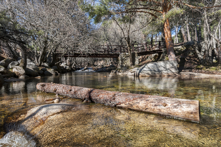riparian: Wooden bridge over the river Manzanares along its course through La Pedriza, in Guadarrama Mountains National Park, Madrid, Spain