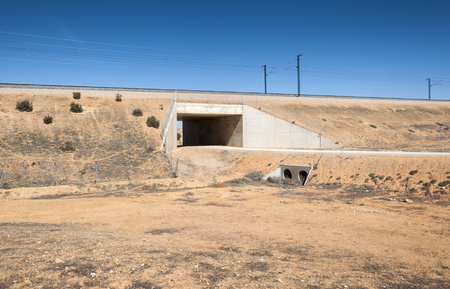 Underpass in the Madrid-Levante High-Speed Railway. These non-specific structures can be used as passageways by wildlife
