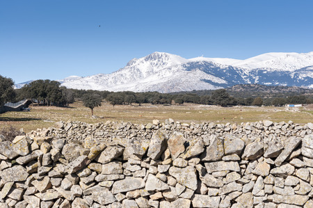 Views of Guadarrama Mountains, In Madrid Province, Spain. It can be seen La Maliciosa Peak and Bola del Mundo Peak.