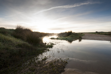 inundated: Flooded dirt road in an agricultural landscape at dawn in Ciudad Real Province, La Mancha, Spain