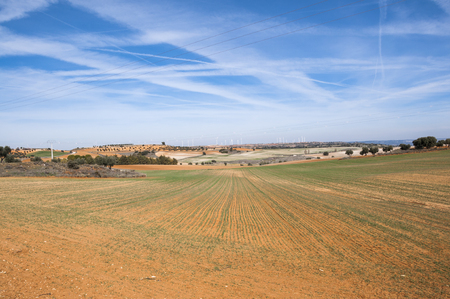 extensive: Agricultural mosaic landscape in Toledo Province, Spain Stock Photo