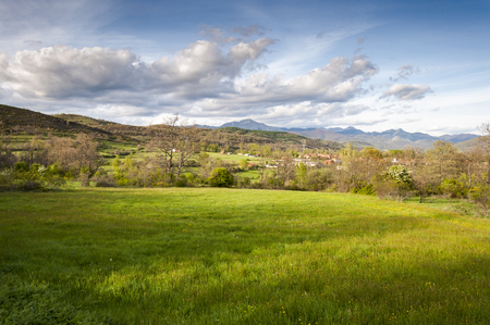 Hay meadows in the Fenar Valley, La Robla Municipality, in Leon Province, Spain