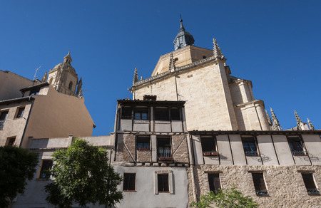 Traditional architecture in the historic centre of Segovia, with the Cathedral in the background, in Segovia, Spain on May 16, 2015