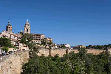 Views of the city of Segovia, with the Cathedral and the Church of Saint Andrew in the background, in Segovia, Spain on May 16, 2015.
