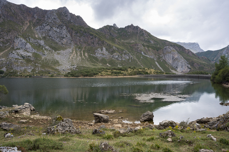 Views of Lago del Valle, in Somiedo Nature Reserve. It is located in the central area of the Cantabrian Mountains in the Principality of Asturias in northern Spain