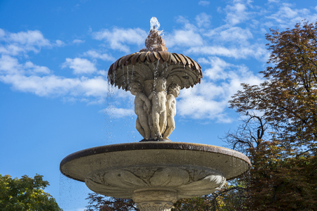 Cherubs on the Artichoke Fountain, in Retiro Park, Madrid, Spain. It was built in 1781, by the architect Ventura Rodriguez. Stock Photo