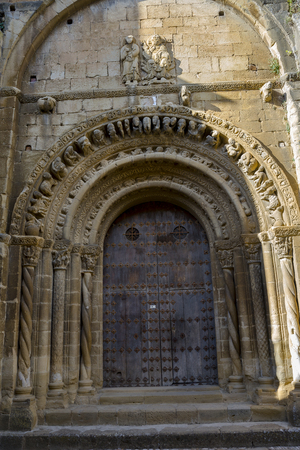 Detail of the southern facade of Santa Maria Church, in Uncastillo, Zaragoza, Aragon, eastern Spain. It was built between 1135 and 1155 in Romanesque style