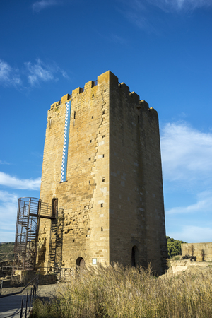 Ruins of the Homage tower of the Uncastillo Castle. It is a historic town and municipality in the province of Zaragoza, Aragon, eastern Spain. In 1966 it was declared a Historic-Artistic site