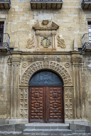 Facade of the Town Hall of Sos del Rey Catolico, Zaragoza, Aragon, eastern Spain.  It was built at the end of the XVI century in Renaissance style. The city was declared a Historic-Artistic site and Site of Cultural Interest. Editorial