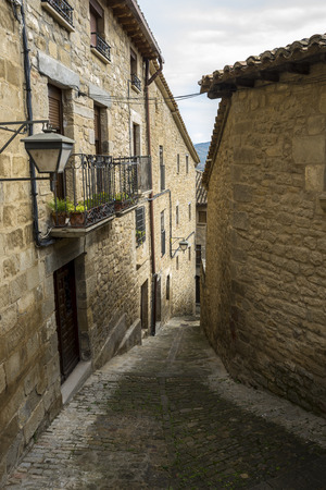 Traditional architecture in Sos del Rey Catolico. It is a historic town and municipality in the province of Zaragoza, Aragon, eastern Spain. In 1968 it was declared a Historic-Artistic site and Site of Cultural Interest.