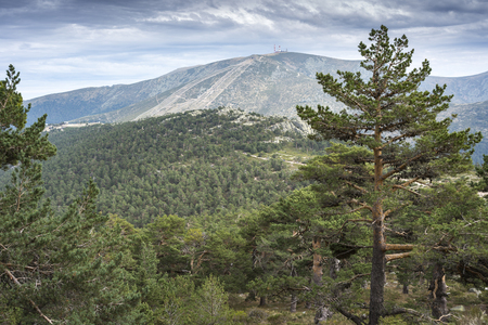 Views of Navacerrada Ski resort from Siete Picos (Seven Peaks) range, in Guadarrama Mountains National Park, provinces of Segovia and Madrid, Spain