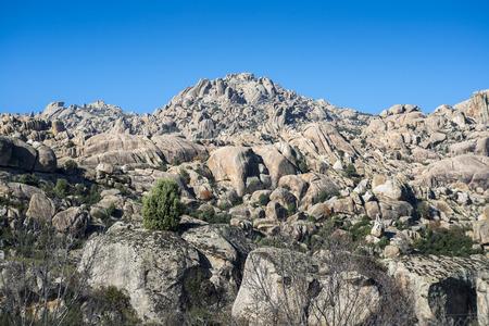 Granitic rock formations in La Pedriza, Guadarrama Mountains National Park, Madrid, Spain Archivio Fotografico