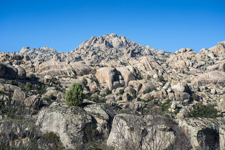 Granitic rock formations in La Pedriza, Guadarrama Mountains National Park, Madrid, Spain 免版税图像