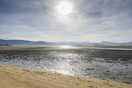 Galician beach during the low tide. Photo taken in the Vigo estuary, Galicia, Spain.