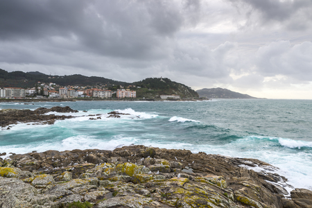 Rocky beach in the Galician littoral, Baiona, Pontevedra, Spain.