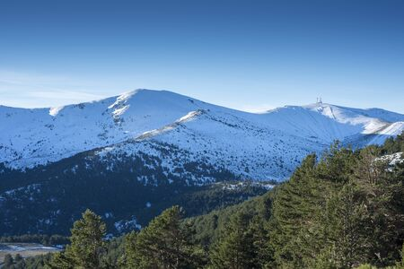 Views of Navacerrada Sky Resort from the municipality of Rascafria, in Guadarrama Mountains National Park, province of Madrid, Spain
