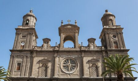 Close-up of the front of the Cathedral of Santa Ana, in Las Palmas de Gran Canaria, Canary Islands, Spain. It is considered the most important monument of Canarian religious architecture